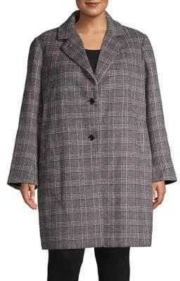 39c4570168f London Fog Plus Glen Check Wool-Blend Reefer Coat