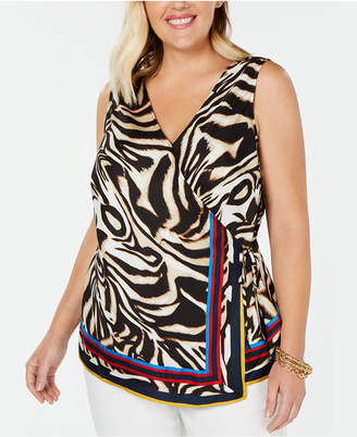 INC International Concepts I.n.c. Plus Size Tiger-Print Surplice Top
