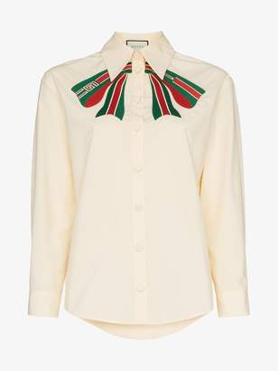 Gucci web bow embroidered cotton blouse