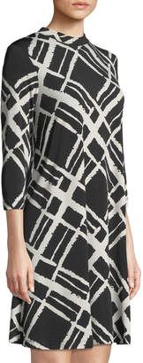 Neiman Marcus Printed A-Line Knit Dress