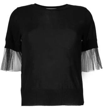 Blugirl tulle detail shortsleeved sweater