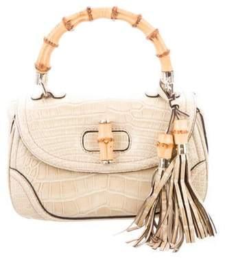 89efe9d42d7e Gucci Crocodile New Bamboo Top Handle Bag
