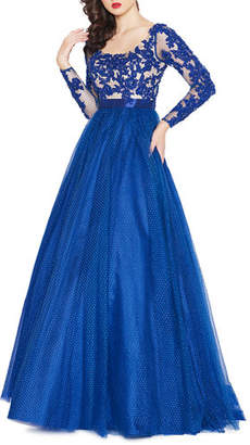 Mac Duggal Long-Sleeve A-Line Gown w/ Lace Bodice Overlay & Dotted Tulle Skirt