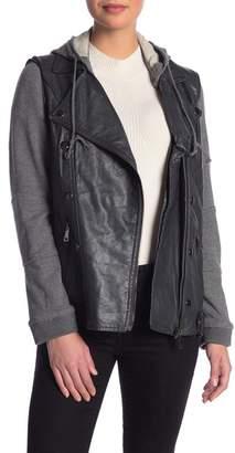 Democracy Hooded Moto Faux Leather Jacket