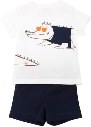 Il Gufo Crocodile Cotton Jersey T-Shirt & Shorts