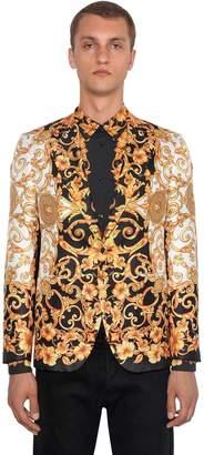 Versace Hibiscus Heritage Printed Silk Jacket