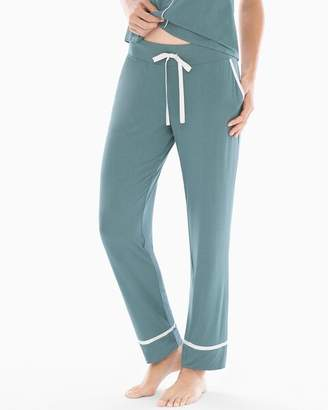 Cool Nights Satin Trim Ankle Pajama Pants Atlantic Green