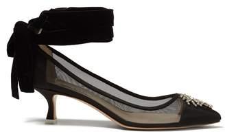 ATTICO Bella ankle-tie crystal-embellished mesh pumps