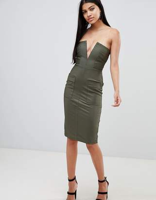 Rare London pocket detail plunge midi dress