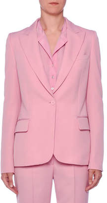 Stella McCartney One-Button Peak-Lapel Classic Wool Blazer