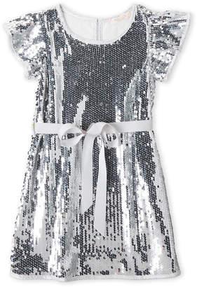 Baby Sara Girls 4-6x) Sequin Ruffle Belted Dress