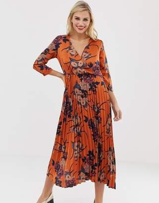 Liquorish floral wrap front midi dress with pleated skirt