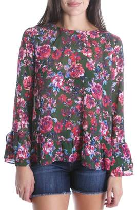 KUT from the Kloth Trixy Ruffle Sleeve Floral Top