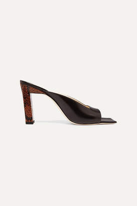 Wandler Isa Smooth And Snake-effect Leather Mules - Brown