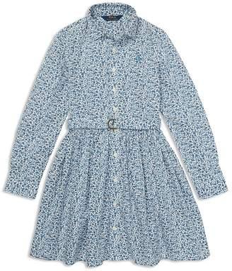 Polo Ralph Lauren Girls' Floral Shirt Dress with Belt - Big Kid