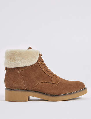 Marks and Spencer Wide Fit Suede Lace-up Ankle Boots