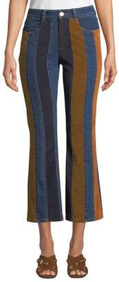 See by Chloe Striped High-Rise Flare-Leg Jeans