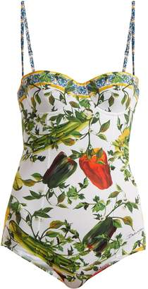 Vegetable-print balconette swimsuit