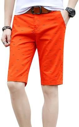 Trunks MOUTEN-Men Casual Cotton Print Drawstring Straight Leg Slim Flat-Front Dress Shorts