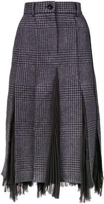Sacai checked pleated midi skirt