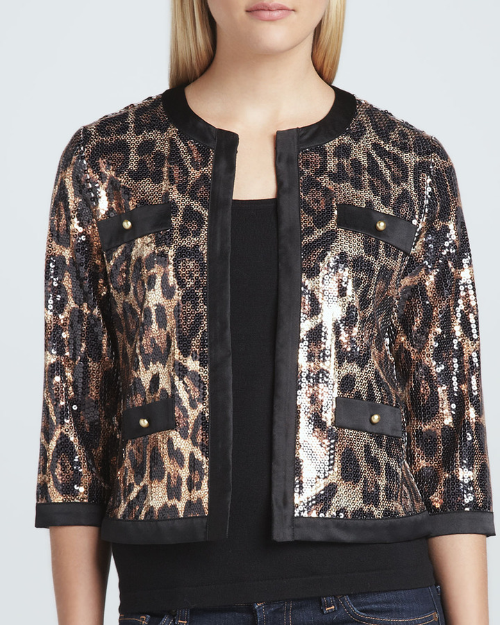 Michael Simon Animal-Sequined Cropped Jacket