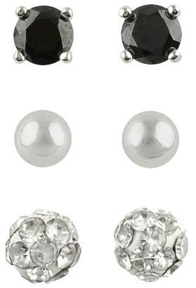 98bd87141415 Distributed by Target Cubic Zirconia Stud, Ball and Crystal Fireball  Earrings Set of 3 -