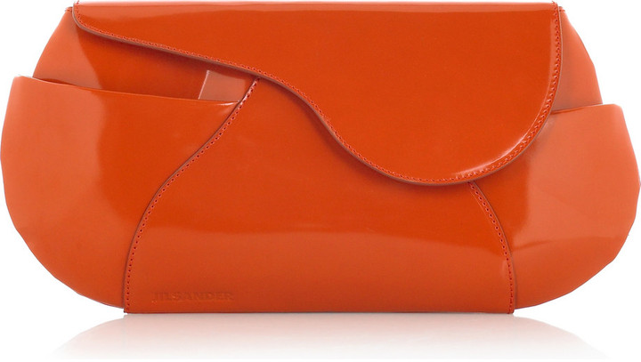 Jil Sander Polished leather clutch