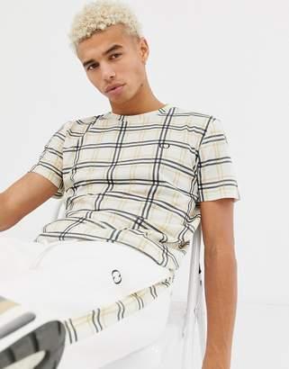 Criminal Damage t-shirt in beige check