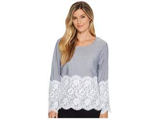Karen Kane Chambray Stripe Lace Top Women's Clothing