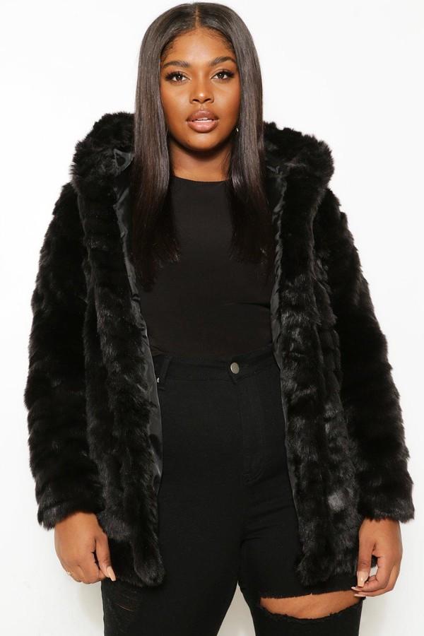 Plus Faux Fur Hooded Longline Coat