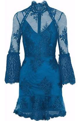 Nicholas Fluted Corded Lace Mini Dress