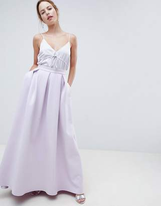 Asos Design Scuba Maxi Skirt With Pockets And Godet Back Detail