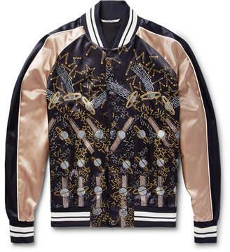 Valentino + Zandra Rhodes Printed Satin Bomber Jacket