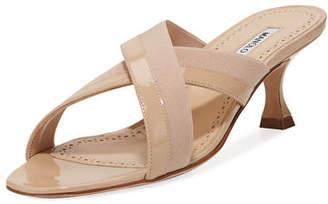 Manolo Blahnik Urto Patent Crisscross Slide Sandals