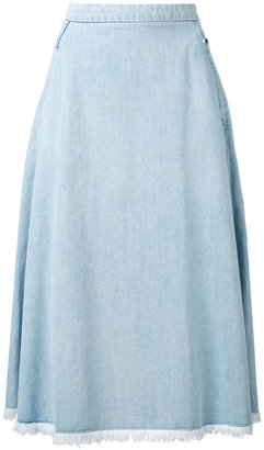 Twin-Set raw edge chambray skirt $144.71 thestylecure.com