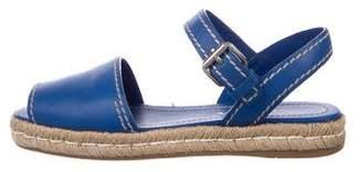 Prada Leather Ankle-Strap Espadrilles