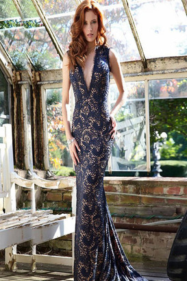 Jovani - Striking Illusion Plunging Neckline Long Lace Gown 78450 $850 thestylecure.com