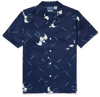 Blue Blue Japan Slim-Fit Camp-Collar Printed Cotton-Gauze Shirt
