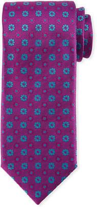 Canali Alternating Flowers Silk Tie, Purple