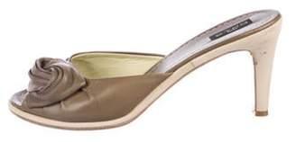 Etro Leather Round-Toe Sandals Olive Leather Round-Toe Sandals