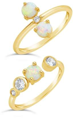 Sterling Forever 14K Gold Sterling Silver Created Opal & CZ Stacking Rings - Set of 2