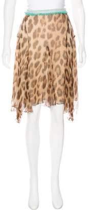 Blumarine Leopard Print Plissé Skirt