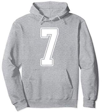 White Outline Number 7 Sports Fan Jersey Hoodie