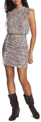1 STATE 1.STATE Sleeveless Ruffled Snakeskin-Print Dress