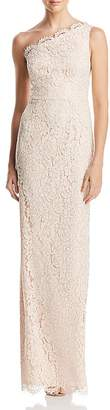 Adrianna Papell One-Shoulder Metallic-Lace Column Gown