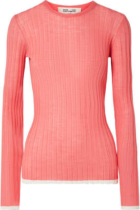 Diane von Furstenberg Two-tone Ribbed Wool-blend Sweater - Coral