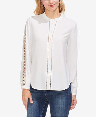 Vince Camuto Lace-Inset Band-Collar Shirt