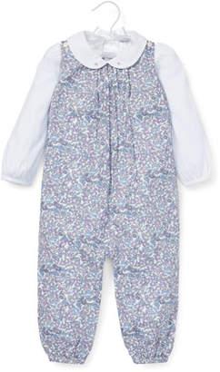 Ralph Lauren Floral Overalls w/ Peter Pan-Collar Bodysuit, Size 6-24 Months