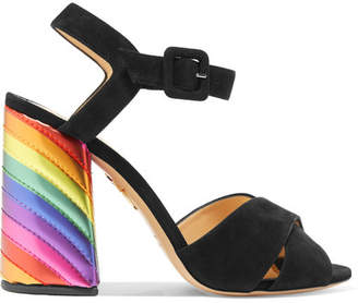 Charlotte Olympia Emma Suede And Leather Sandals - Black