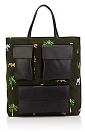 Tomasini Men's Canvas & Leather Tote Bag-Beige, Khaki
